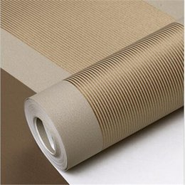 Wholesale grey paper roll - Wholesale- 3D Wall Paper Stripe Wallpaper Striped Flocking Bedroom or Living Room or TV Background Wall Beige Grey .papel de parede Roll.pa