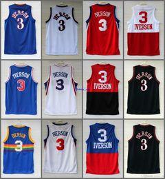 Wholesale Black Mesh Shirts - High Quality Free Shipping Retro #3 Allen Iverson Sport Jersey Throwback Jerseys Embroidery Logo Mesh Black White Shirt Georgetown Hoyas