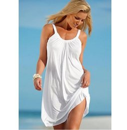 Wholesale swimwear mini - 2017 Hot Sale Women Strap Loose Vestidos Summer Sleeveless Causal Solid Robe Beach Sundress Party Casual Sexy Mini Dress Swimwear