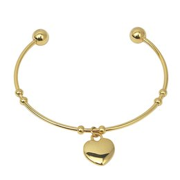 Wholesale Christmas Costume Jewellery - Yellow Gold Bangle Bracelets Heart Charm Bracelets New Bangles design Stainless Steel Women Costume Jewellery High Quality