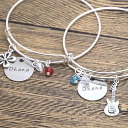 Bracelets d'amitié fleur en Ligne-Bracelet d'amitié Ohana 24pcs / lot charme de ukulele fleur hawaïenne meilleur ami bracelet de sœur famille.