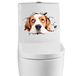 Wholesale Stained Sticker - Cute Dog Cat Toilet Stikcer 3D Effect Panted Animal fridge magnet Removable Wall Decoration Kid's House Wall Sticker