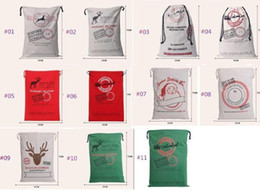 Wholesale Rustic Linens - Gift Bag Christmas 50*70cm 11 styles Red drawstring Canvas Santa Sack Rustic Vintage Christmas stocking bagsDecoration b324
