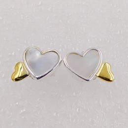 Wholesale Turquoise Garnet Jewelry - Luminous Hearts Stud Earrings Made of 18k gold plated & 925 Sterling Silver Fit European Pandora Style ALE Stud Jewelry Hot Sale