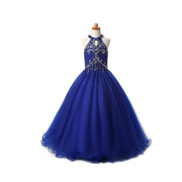 Wholesale Beaded Halter Flower Girl Dress - Girls Pageant Dresses Size 10 Royal Blue Tulle A-line Beaded Halter Real Pictures Long Floor Length Kids Flower Girl Party Gowns 2017