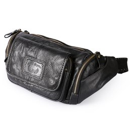 Wholesale Leather Leg Bag Men - new men's waist bag fashion multi-functional pockets high-quality black leather legs bag phone high-quality men's pockets