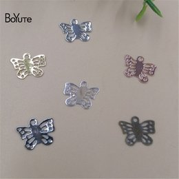 Wholesale Accessory Charm Supplier - BoYuTe Accessories Parts Supplier 500 Pieces 4 Colors 11*9MM Metal Brass Vintage Butterfly DIY Jewelry Charms