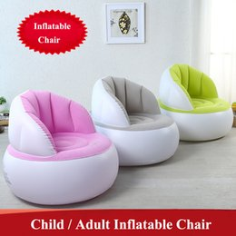 Wholesale Inflatable Stools - Cute Folding Flocking Inflatable Sofa Lazy Sofa Chair Bedroom Furniture Bean Bag Armchair Kid Adult Gaming Computer Stool