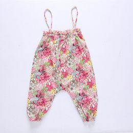 Wholesale Baby Denim Pants Suspenders - New Baby Trousers Spring Floral Jumpsuits Girls Flower Long Pants Fashion Suspender Soft Girl Harem pants Toddler Flowers Pants Dress A6577