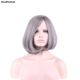 Wholesale Silver Curly Wig - WoodFestival high quality cheap silver grey ombre wig short bob synthetic hair wigs heat resistant fiber wig cosplay women gray wigs