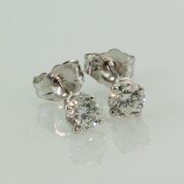 Wholesale Gray Diamond Stud Earrings - 0.72 ct VS1- G ROUND GENUINE DIAMOND STUD EARRINGS IN 14K WHITE GOLD