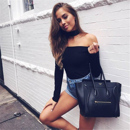 Wholesale Club Body Suits - Wholesale- LOHILL Women Off Shoulder Bodysuits 2017 Autumn Long Sleeve Club Skinny Body Suits Overalls Jumpsuits One Piece Clubwear