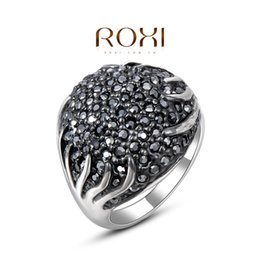 Wholesale Sparkling Rhinestone Ring - ROXI Brand Rings for Women Jewelry New Luxury Sparkling Black Rhinestone Filled White Gold Platinum Plated Finger Ring