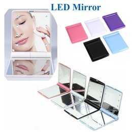 Wholesale Mirror Light Covers - Cosmetic Mirror LED Light Mirror Desktop Portable Compact 8 LED lights Lighted Travel Make up Mirror Flip Cover Mirror OTH312