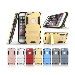 Copertura iphone i5 online-Custodie a doppio strato Iron Armor Iron Man per iphone 7 6 6S 7 Plus per i5 5C 5s SE Coque Cases Cover posteriore con funzione Stand