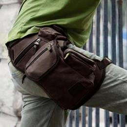 Wholesale black drop leg bag - 2016 Men's Canvas Drop Leg Bag Waist Fanny Pack Belt Hip Bum Military Motorcycle Multi-purpose Messenger Shoulder Bags