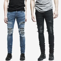 Wholesale Damaged Jeans - Wholesale- fashion mens jeans hole pants ankle cool blue jogger damage jeans rock star High Quality Casual destroyed skinny ruched jeans