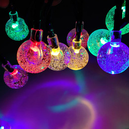 Wholesale Christmas Lightings - Wholesale- Waterproof 5M 20 LED Crystal Ball Solar Powered LED String Lights Decorative Outdoor Garden Patio Lantern Decoration Lightings