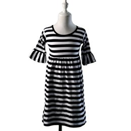 Wholesale Hot Pink Stripe Dress - 2016 Hot Sale Limited 150cm(10-12t) Brown Wholesale Baby Girl 3 4 Sleeve Black&white Kid Casual Cotton Ruffle Dress Kids Stripe Boutique