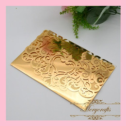 Wholesale Wedding Invitation Cards New Designs - Wholesale- 2016 New Design Delicate Carved Heart Metallic Paper Gold Color Wedding Laser Cut Invitation Card