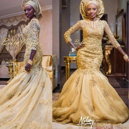 Wholesale Three Quarter Sleeve Wraps - 2017 Arabic Aso Ebi Mermaid Gold Lace Evening Dresses African Nigerian Appliques Three Quarter Sleeves Prom Gowns With Tulle Wrap BA3172