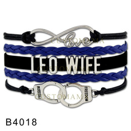 Wholesale Handcuff Leather Bracelet - Custom-Infinity Love Wife Handcuffs Freedom Bracelet Leo Wife Blue Black Leather Adjustable Bracelets For Women Men Jewelry