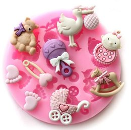Wholesale Baby Shower Mold Cake - Baby Shower Baking Mold Silicone Baking Mold Fondant Cake Chocolate Decorating Candy Pastry Mould CCA7204 100pcs