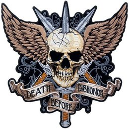 Wholesale Sword Iron - High Quanlity About Custom Death Before Dishonor Sword & Skull Patch Back Patches Iron Jacket Cloth Size 12X12IN Free Shipping
