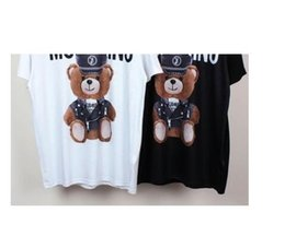 Wholesale Clothing Caps - 2017 Harajuku Couples Clothes Print 2017 new fashion Bear tee tops star hat For men women brand tee free shipping famous