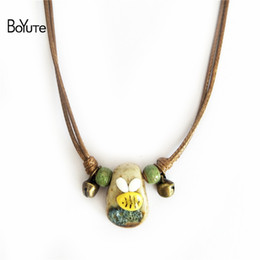 Wholesale Handmade Gift Bags - BoYuTe 5Pcs Diy Adjustable Rope Handmade Knead Ceramic Bee Pendant Necklace for Girls Bubble bag for protection