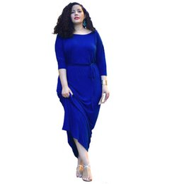 Wholesale Hot Pink Pencil Dress - L-3XL Large Size Hot Selling Selling women's fat woman Net leisure joker color round collar sleeve dress five points