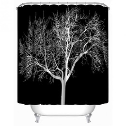 Wholesale Modern Curtains Designs - Wholesale- SenHome 180X180cm Latest Design Black Snow Big Tree Printed Polyester Shower Curtain Bathroom Curtain Hot Selling