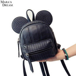 Wholesale Mouse Backpack - Wholesale- Mara's Dream 2016 New Women's Leather Backpack Cartoon Children Solid Color Black Mini Girls Small Mouse Backpacks for Teenage