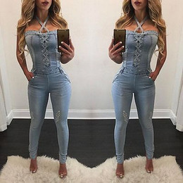 Wholesale Pants Jumpsuits - Wholesale- 2017 new fashion sexy summer bandage Women Fashion Denim Jeans BIB Pants Overalls Straps Jumpsuit Rompers Trousers