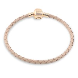 Wholesale Big Hole Gold Beads - GOLD Brown Genuine Leather Bracelet Chain Fit For Charms Bracelets DIY Metal fit for Alloy Glass European Big Hole Bead