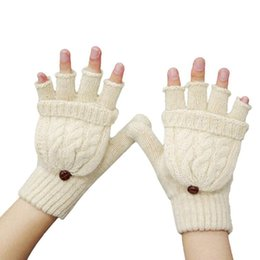 Wholesale Girls Fingerless Cotton Gloves - Wholesale- Women Girl Winter Warm Fingerless Gloves Covering Mittens Half Finger Gloves