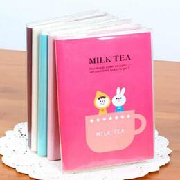 Koreanische notizbuchjournal online-6 Farben Nette Kawaii Notebook Cartoon Milchtee Journal Tagebuch Planer Notizblock Für Kinder Geschenk Korean Schreibwaren