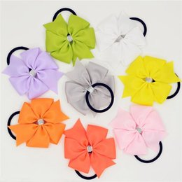Wholesale Ponytail Holders For Bows - 1pc Baby Girl Elastic Hair Bands Solid Color PonyTail Holder Hair Bow Headband Hairband for Newborn Infant Hair Accessories