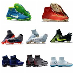 Wholesale Kids Lacing Tops - 2017 cheap men high top soccer cleats Mercurial Superfly V SX Neymar FG AG kids football boots cr7 Cristiano Ronaldo Boys soccer shoes Turf