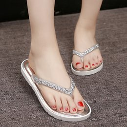 Wholesale Worn Flip Flops - Summer fashion lady slippers sandals shoes outside women wear sandals slippers thick bottom beach shoes