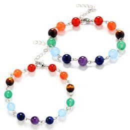 Wholesale amethyst healing stones - 7 Chakra Healing Balance Beads Bracelet 7 Chakra Bracelet Agate Tiger Eyes Amethyst Crystal Natural Stone Bracelets Yoga Jewelry 162109