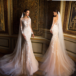 Wholesale Long Sheer White Veils - Sheer Bodic Mermaid Lace Wedding Dresses 2016 Champagne Long Sleeves Sexy Dubai Bridal Gowns With Crew Neck Sweep Train Free Long Veil