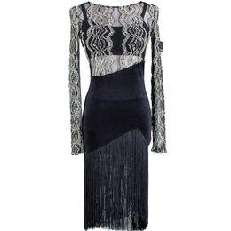Wholesale Latin Dance Competition Dress Black - New Adult Latin Dance Dress Salsa Tango Cha cha Ballroom Competition Dress Black Lace Tassel Dress S-2XL D001