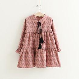Wholesale Clothes Korea For Girls - Plain Girls Grass Print Tassel Dresses 2017 Fall New Style Kids Clothing for Boutique Korea 2-7Y Girls Long Sleeves Dresses