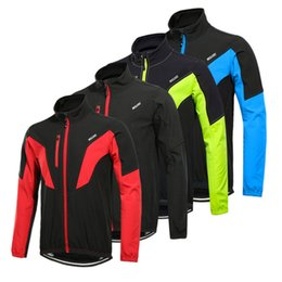 Wholesale Bike Sports Jacket - ARSUXEO Winter Cycling Jacket Thermal Warm Up Men Shell Softshell Cycling Windproof Jacket Bicycle Sports Coat MTB Bike Clothing