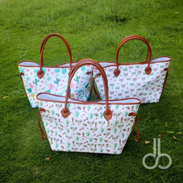 Wholesale White Beach Bags Wholesale - Cactus Floral Handbag Wholesale Blanks Arrow Skull Cactus Tote Large Floral Heart Purse Available in Three Colors DOM106658