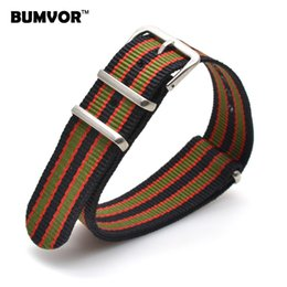 Wholesale 22mm Nylon - Wholesale- Wholesale 22 mm Multi Color Black Green Army Sports nato fabric Nylon watchband Watch Strap Accessories Bands Buckle belt 22mm
