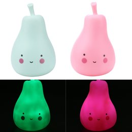 Wholesale Pink Decorated Christmas Tree - Candy Color LED Pear Baby Night Light Children Silicone Light-Up Toys Kid Bedroom Decorated Light Lamp Pink Green