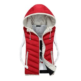 Wholesale Mens Padded Jackets - Wholesale- New Mens Jacket Sleeveless Vest Winter Fashion Casual Coats Male Hooded Cotton-Padded Men's Vest men Thickening Waistcoat 62wy