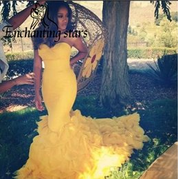 Wholesale Black Corset Evening Dresses - Cascading Ruffles Organza Prom Dresses 2017 Mermaid Yellow Special Occasion Dress Sweetheart Corset Back Women Formal Evening Party Gowns
